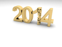 New Year's 2014. Golden numbers 2014 on a white background royalty free illustration