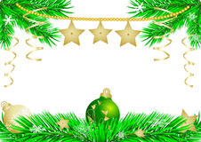 New year's green ball and gold stars Royalty Free Stock Photo