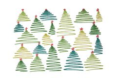 New Year`s Christmas tree with balls and numbers 2018 painted wi. New Year`s green Christmas tree with balls and numbers 2018 painted with watercolor markers on royalty free illustration