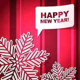 New Year's greeting card. With snowflakes and speech bubble vector illustration