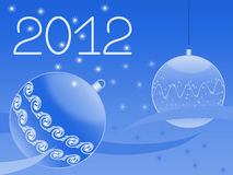 New year's greeting card. New year's ornament with balls. snow and stars Royalty Free Stock Image
