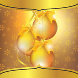 New Year's greeting card with Christmas tree ball Stock Photography