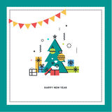 New Year's greeting card. Flat line design vector illustration Royalty Free Stock Photos