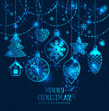 New Year's greeting card merry Christmas. Bright New Year's toys Royalty Free Stock Photo