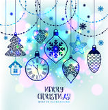 New Year's greeting card merry Christmas. Bright New Year's toys Royalty Free Stock Image