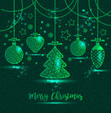 New Year`s greeting card merry Christmas. Bright New Year`s toys Royalty Free Stock Image