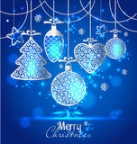 New Year's greeting card merry Christmas. Bright New Year's toys. On a soft background with snowflakes royalty free illustration