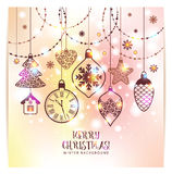 New Year`s greeting card merry Christmas. Bright New Year`s toys Stock Image