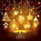 New Year's greeting card merry Christmas. Bright New Year's toys on a soft background with snowflakes royalty free illustration