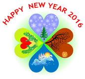 New Years greeting card in the shape of heart cloverleaf with four seasons Royalty Free Stock Images