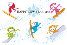 New Year's greetings 2016. Many monkeys which enjoy snowboarding Royalty Free Stock Photos
