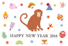 New Year's greetings 2016. Monkey of 2016 among many illustrations Stock Photo