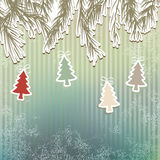 New Year's holiday background tree.  + EPS8. New Year's holiday background with hanging tree.  + EPS8 vector file Royalty Free Illustration