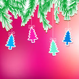 New Year's holiday with hanging tree. + EPS8. New Year's holiday background with hanging tree. + EPS8 vector file Vector Illustration