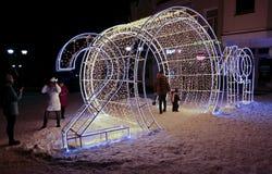 New Year`s holiday illumination in Saratov. New Year`s holiday illumination in 2019. Russia. Saratov. Volzhskaya street royalty free stock photos