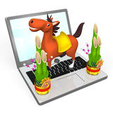 New Year's Horse On Lap Top Royalty Free Stock Photos