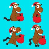 New Years horse. In a red cap with a bag Royalty Free Stock Photos
