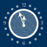 New Year's hours. Five minutes to New Year. Abstract clock on blue background. Happy New Year. Illustration Stock Photography