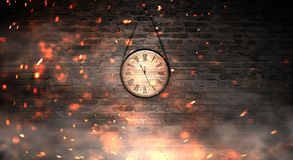 New Year`s Hours. Round wooden clock on the old brick wall, bokeh effect, celebratory, magic light, New Year, Christmas. royalty free stock photography