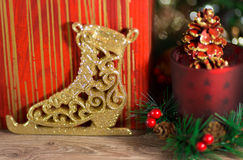 New Year's ice skate. On color background Royalty Free Stock Photo