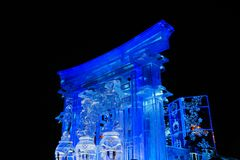 New Year`s ice town at night stock photos