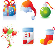 New Year's icon set. Set of celebratory New Year's icons. Isolated on a white background. Vector illustration (EPS8). All parts (object) closed, possibility to Stock Images