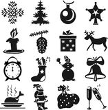 New Year's icons. 16 New Year's icons in black color on a white background royalty free illustration