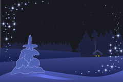 The New  year`s illustration. The New year`s card with winter landscape Stock Photo