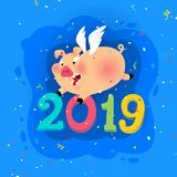 New year's illustration of a cartoon pig with the inscription 2019. Vector. The illustration is isolated on a white. Background. Sweet animal pig. Symbol royalty free illustration