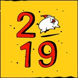 New year's illustration of a cartoon pig with the inscription 2019. Vector. The illustration is isolated on a yellow. Background. Sweet animal pig. Symbol stock illustration