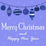 New Year`s illustration with a garland of Christmas balls. Blue background Stock Photography