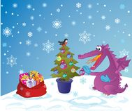 The New Year's image with a dragon. Cute Dragon, symbol 2012 year, decorate a fir-tree. Sack with presents Royalty Free Stock Images