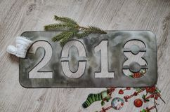 The new year`s inscription 2018 . royalty free stock photo