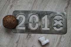 The new year`s inscription 2018 . royalty free stock photography