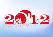 New Year's inscription (numbers) 2012. The stylized New Year's inscription 2012 with Santa Claus a ball and snowflakes Royalty Free Stock Image