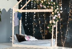 New Year`s interior of a children`s bedroom. stock photos