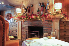 New Year`s interior fireplace. Stock Photo