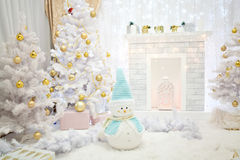 New Year`s interior in pale blue shades of yellow Stock Image