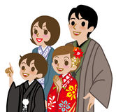 New year's Kimono family,Waist Up Royalty Free Stock Photo