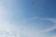 New Year's Kite Festival Kanagawa, Japan. Kanagawa, Japan - January 13: Kites fly in the sky in the New Year's Kite Festival at Nissan Stadium on January 13 Royalty Free Stock Photo