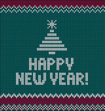 New Year`s knitting illustration. Card of Happy New Year 2017 with knitted texture Royalty Free Stock Photos