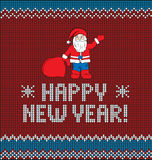 New Year`s knitting illustration. Card of Happy New Year 2017 with Santa. Knitted texture Royalty Free Stock Image