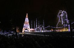 New Year`s lighting in Danube park,Novi Sad. New Year`s lighting in Danube park, Novi Sad, Serbia.2019.Front side.There are also skating rinks in the park royalty free stock photos