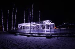 New Year`s lighting in Danube park, Novi Sad, Serbia. One part of the park where it is decorated. New Year`s lighting in Danube park, Novi Sad, Serbia.2019 stock image