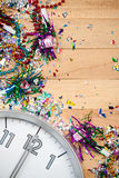 New Year's: Midnight Celebration Party Background. Background series good for New Year's Eve - with confetti, champagne, etc. and lots of copyspace on a wooden Royalty Free Stock Photography