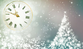 New Year's at midnight and Christmas tree. Christmas background with stars and snowy fir trees and clock close to midnight Stock Images