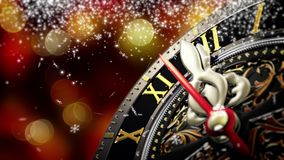 New Year`s at midnight - Old clock with stars snowflakes on bokeh background. 4K. 3d rendering stock video footage