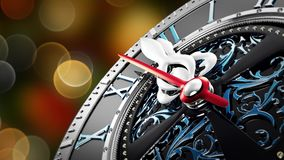 New Year`s at midnight - Old clock with stars snowflakes and holiday lights. Bokeh background. 3d rendering 4K stock video