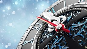 New Year`s at midnight - Old clock with stars snowflakes and holiday lights. royalty free illustration