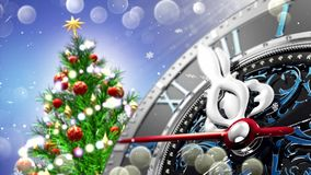 New Year`s at midnight - Old clock with stars snowflakes and holiday lights. 3d rendering Stock Photos